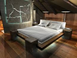 platform bed with led lights cozy small attic bedroom ideas with white bedding set plus wooden