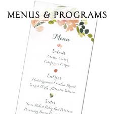 wedding menus and programs weddings letter stationery