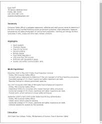 Food Prep Resume Example by Professional Consumer Safety Officer Templates To Showcase Your
