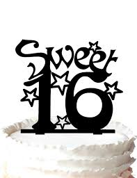 sweet sixteen birthday cake topper silhouette many stars for boy
