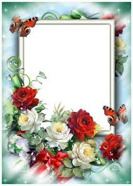 roses and butterflies photo frame free psd template