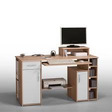 Schreibtisch Mit Computer Pc Tisch Eildon Mit Tastaturauszug In Eiche Weiß Pharao24 De