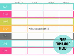printable meal planner free free menu to be printed jenny collier blog
