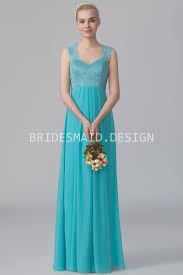 queen anne neck pool blue lace and chiffon empire long bridesmaid