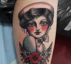 vintage nurse tattoo by angelique houtkamp design of