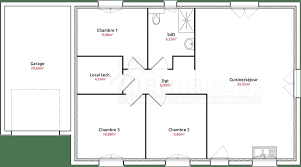 plan maison en l plain pied 3 chambres plan maison 3 chambres