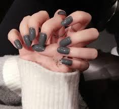 new 24pcs fashion milk grey fake nails cool style oval short nails