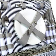 picnic basket set for 4 grey wicker picnic basket 2 or 4 person set charles bentley