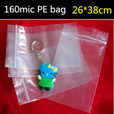 50pcs 26cm 38cm 160micron large clear plastic zip bag zip lock