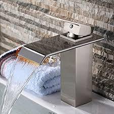 yodel single handle waterfall bathroom vanity sink faucet brushed