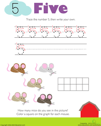 tracing numbers u0026 counting 5 worksheet education com
