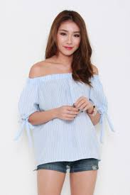 light blue off the shoulder top crepe stripes tie off shoulder top in light blue shopperboard