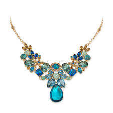 gold blue stone necklace images Lyst carolee green and gold stone frontal necklace in blue jpeg