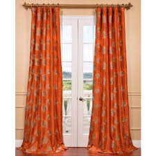 Burnt Orange Curtains Zen Garden Harvest Orange Embroidered Faux Silk Curtain