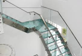 Glass Staircase Design Double Stringer Mild Steel Glass Railing Stair Staircase Designs