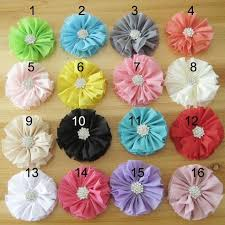 headband supplies 6 5 cm fabric chiffon flower with rhinestne diy headband supplies