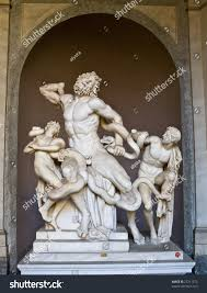 ancient laocoon statue greek mythology located stock photo