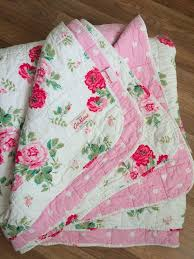 cath kidston antique rose bouquet double bedspread white pink red