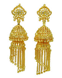 ethnic indian traditional gold plated jhumka earrings set