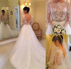 lace long sleeves wedding dresses backless pearls belt court train