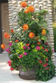 summer planter with dahlias geraniums etc like all the different