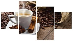 glasbilder küche istantilli kaffeetasse und leinensack mit gerösteten kaffeebohnen