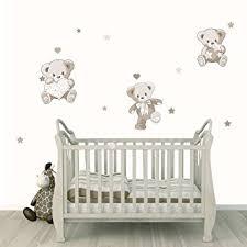 stickers nounours pour chambre bébé stickers ourson naissance le trio beige taupe nos 3 oursons