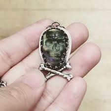 halloween jewelry halloween jewelry purple labradorite skull pendant necklace with