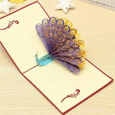 Designs Of Greeting Cards Handmade New Arrival Fashion Design 3d Animals Peacock Pop Up Card Birthday