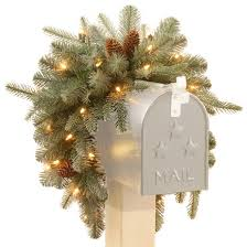 36 frosted arctic spruce mailbox swag with battery operated warm