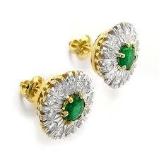 gold diamond earrings anzor jewelry 1 98ct genuine emerald diamond 14k