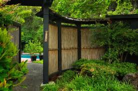 Outdoors Natural Bamboo Japanese Fence Idea For Natural Garden