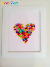 kids u0027 pom pom craft valentine u0027s day pom pom heart in a frame