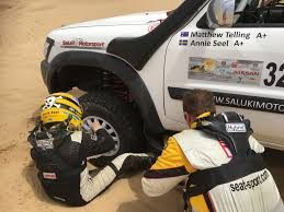 nissan dakar team saluki motorsport finished dubai baja rally annie seel