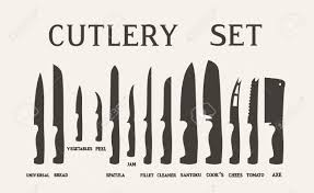 kitchen knives names set flat icons of kitchen knives with signature names vector