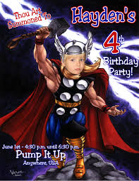 Pump It Up Invitation Card Thor Personalized Photo Birthday Invitations 1 29 Welcome To
