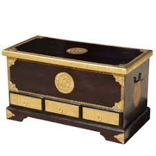 brass trunk coffee table rare hand painted mango wood storage trunk coffee table