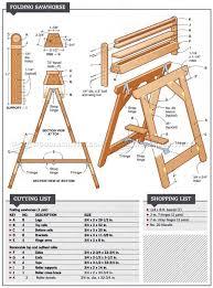 workshop blueprints 3094 folding sawhorse plans workshop solutions benches