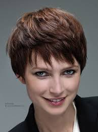 short gamine haircut with layers and a shorter nape area
