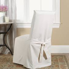 Dining Chair Slipcovers With Arms Sure Fit Cotton Duck Length Dining Room Chair Slipcover