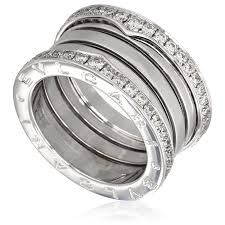 bvlgari diamonds rings images Bvlgari b zero1 18k white gold 4 band diamond pave ring size 9 jpg