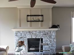 house charming painted stone fireplace makeover how to painting