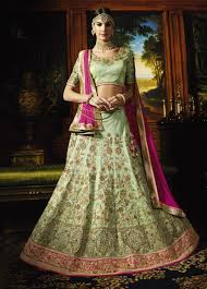 pista green color focus pure silk bridal lehenga choli with