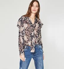 frilly blouse frilly blouse navy blue print shirts tunics promod