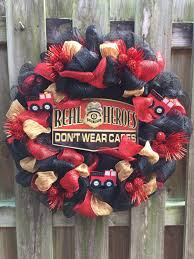 sale firefighter wreath deco mesh wreath fireman wreath zoom