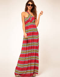 miss sixty maxi dress with stripe print in pink lyst