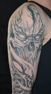 grey ink skull half sleeve