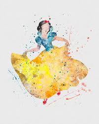 snow white watercolor art print watercolor art snow white