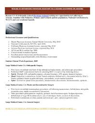 physician assistant resume template resume sle physician assistant best of physician assistant
