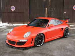 orange porsche 2006 gemballa gtr 650 evo orange based on porsche 997 side angle